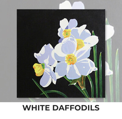 White Daffodils ADULT OR TWEEN Acrylic Paint On Canvas DIY Art Kit - 3 Week Special Order