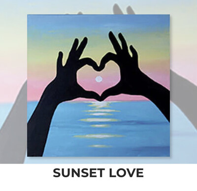 Sunset Love ADULT OR TWEEN Acrylic Paint On Canvas DIY Art Kit - 3 Week Special Order