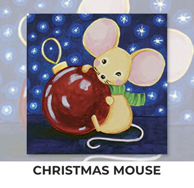 Christmas Mouse ADULT OR TWEEN Acrylic Paint On Canvas DIY Art Kit - 3 Week Special Order