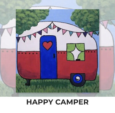 Happy Camper ADULT OR TWEEN Acrylic Paint On Canvas DIY Art Kit - 3 Week Special Order