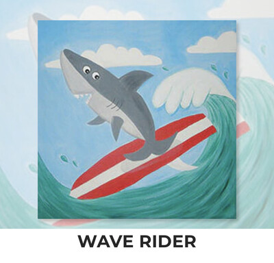 Wave Rider Shark KIDS Acrylic Paint On Canvas DIY Art Kit - 3 Week Special Order