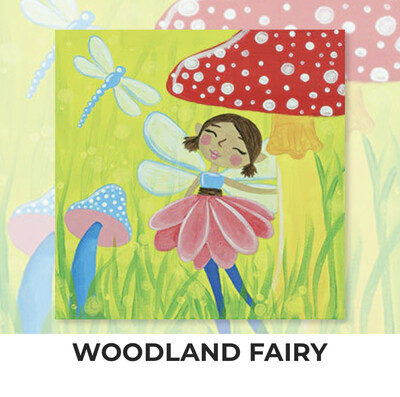 Woodland Fairy KIDS Acrylic Paint On Canvas DIY Art Kit - 3 Week Special Order