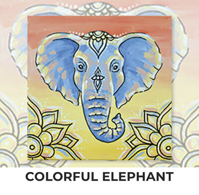 Colorful Elephant KIDS Acrylic Paint On Canvas DIY Art Kit - 3 Week Special Order