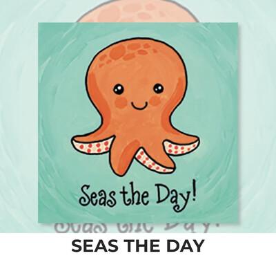 Seas The Day Octopus KIDS Acrylic Paint On Canvas DIY Art Kit
