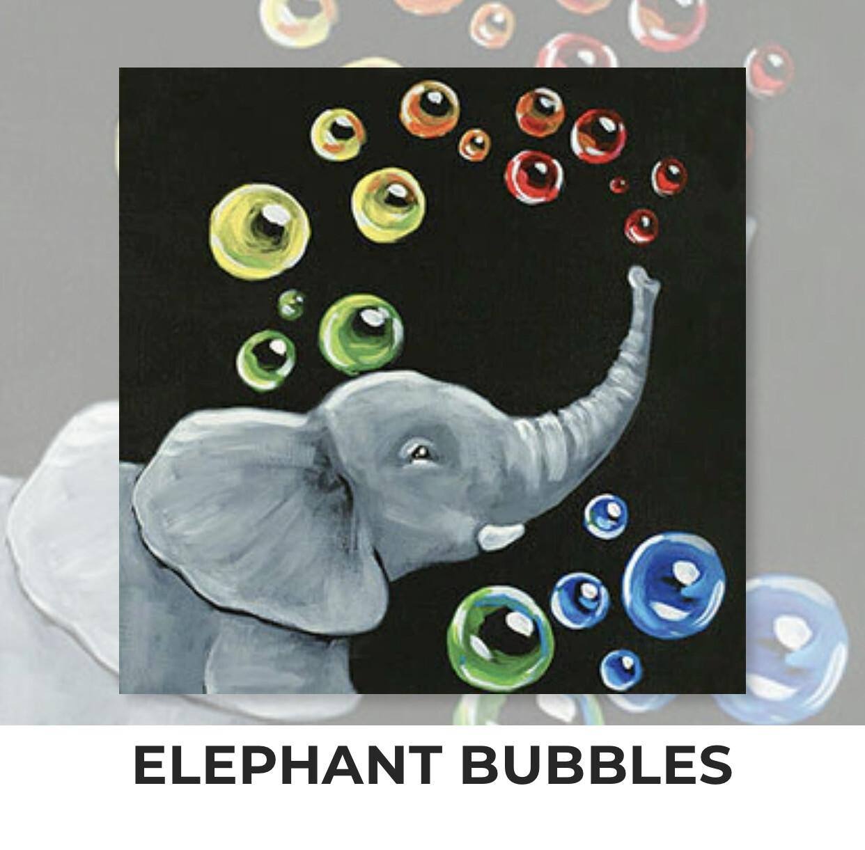 Elephant Bubbles KIDS Acrylic Paint On Canvas DIY Art Kit - 3 Week Special Order