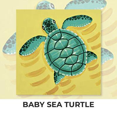 Baby Sea Turtle KIDS Acrylic Paint On Canvas DIY Art Kit