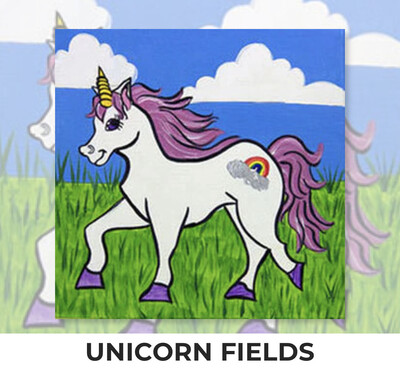 Unicorn Fields KIDS Acrylic Paint On Canvas DIY Art Kit - 3 Week Special Order