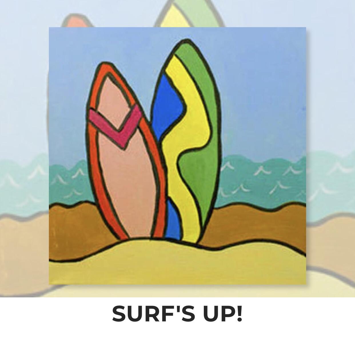 Surf's Up! Surfboards KIDS Acrylic Paint On Canvas DIY Art Kit