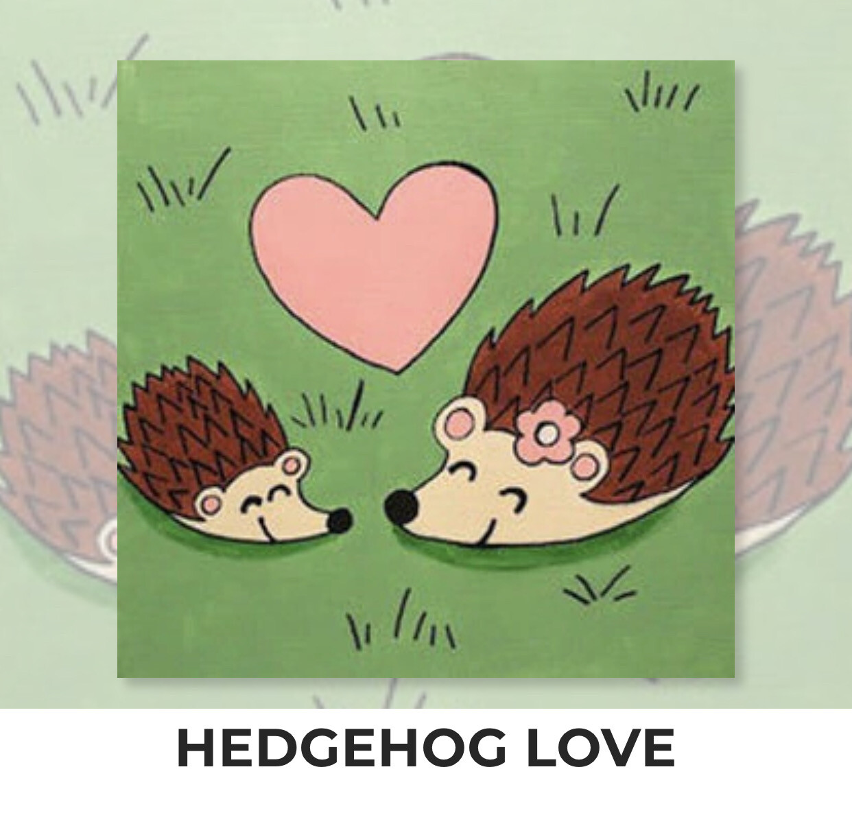 Hedgehog Love KIDS Acrylic Paint On Canvas DIY Art Kit