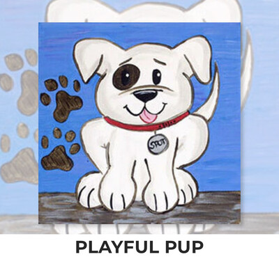 Playful Pup KIDS Acrylic Paint On Canvas DIY Art Kit - 3 Week Special Order