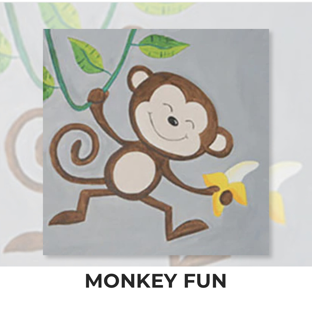 Monkey Fun KIDS Acrylic Paint On Canvas DIY Art Kit