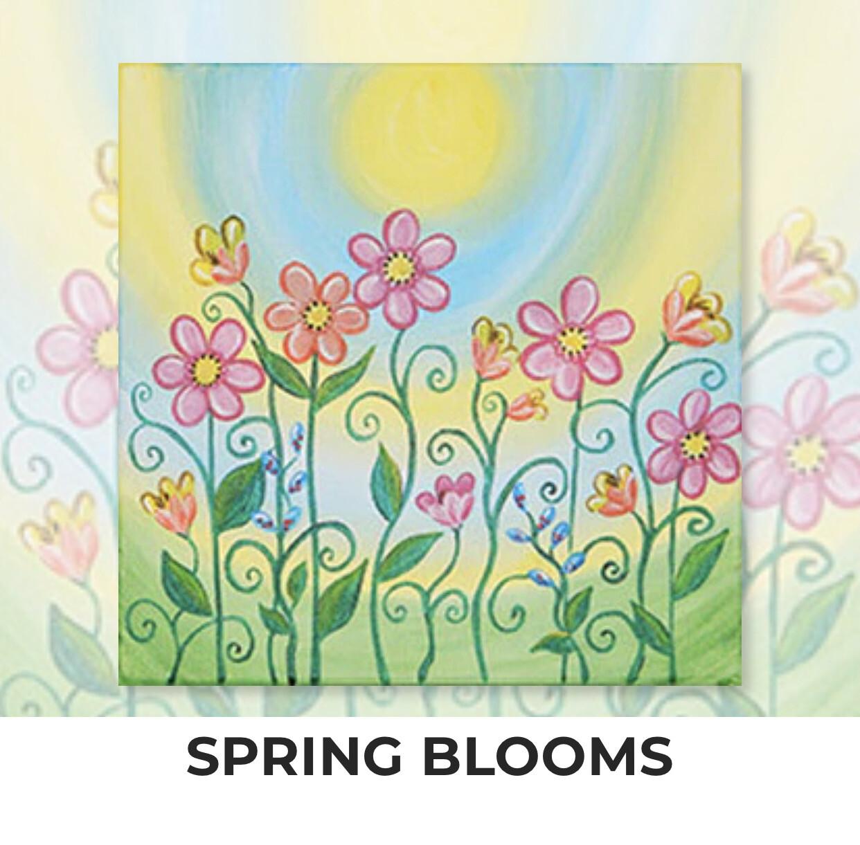 Spring Blooms KIDS Acrylic Paint On Canvas DIY Art Kit