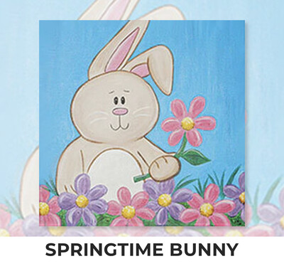 Springtime Bunny KIDS Acrylic Paint On Canvas DIY Art Kit - 3 Week Special Order