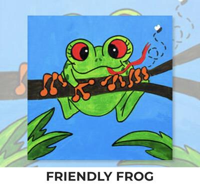 Friendly Frog KIDS Acrylic Paint On Canvas DIY Art Kit