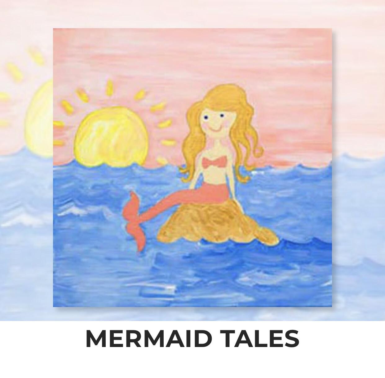 Mermaid Tails KIDS Acrylic Paint On Canvas DIY Art Kit - 3 Week Special Order