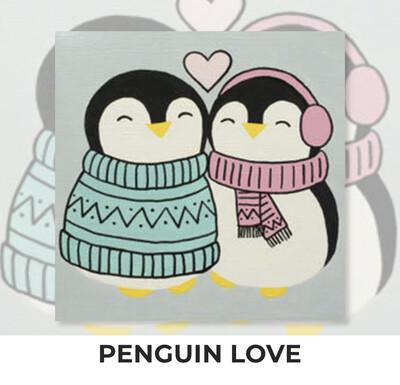 Penguin Love KIDS Acrylic Paint On Canvas DIY Art Kit
