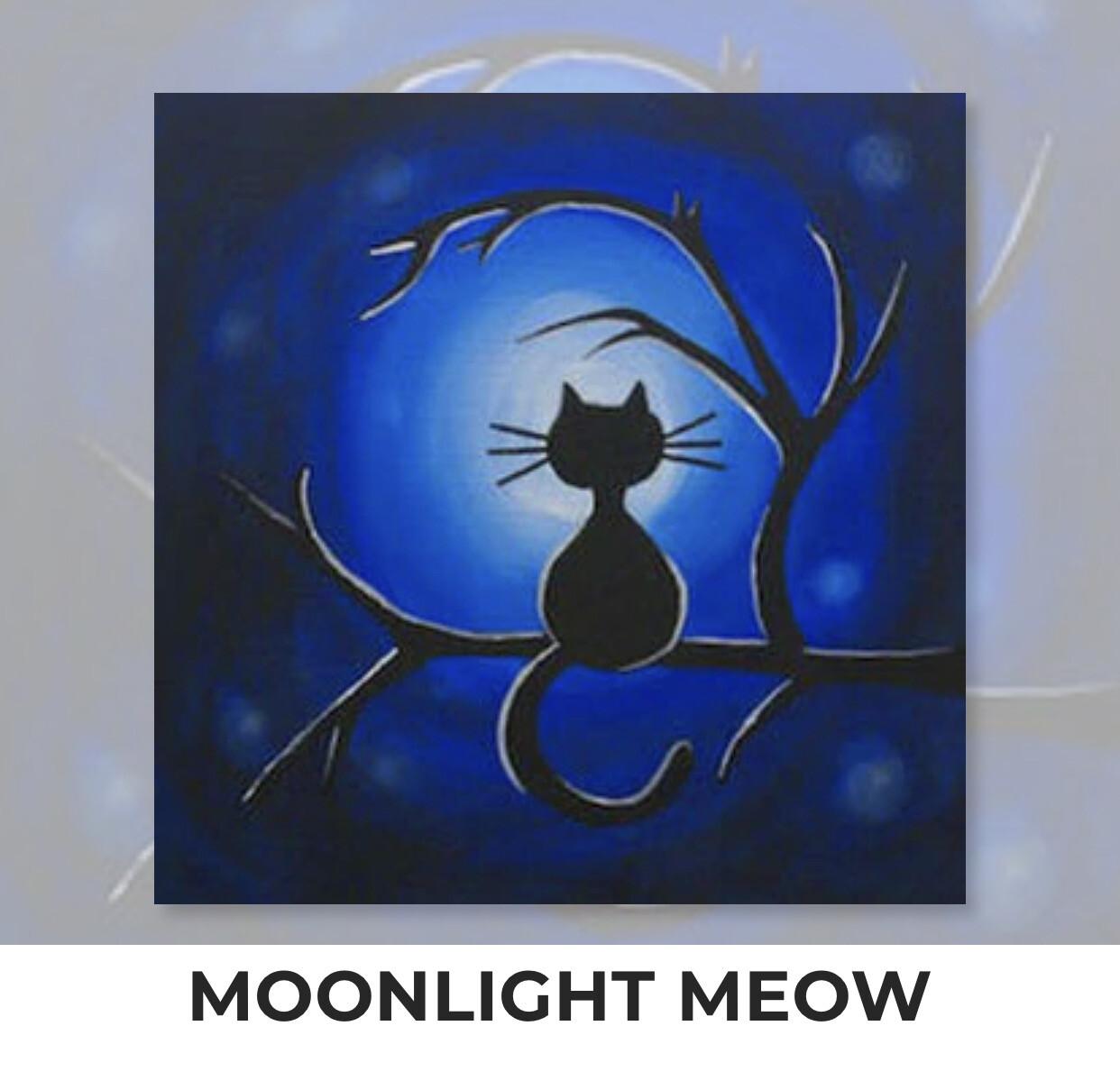 Moonlight Meow KIDS Acrylic Paint On Canvas DIY Art Kit - 3 Week Special Order