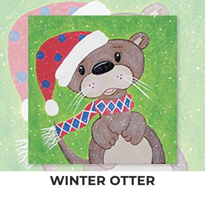 Winter Otter KIDS Acrylic Paint On Canvas DIY Art Kit - 3 Week Special Order