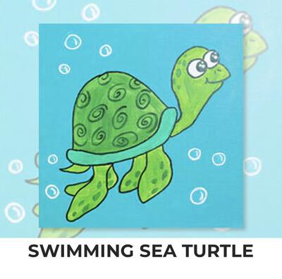 KIDS Acrylic Paint On Canvas DIY Art Kit - Swimming Sea Turtle