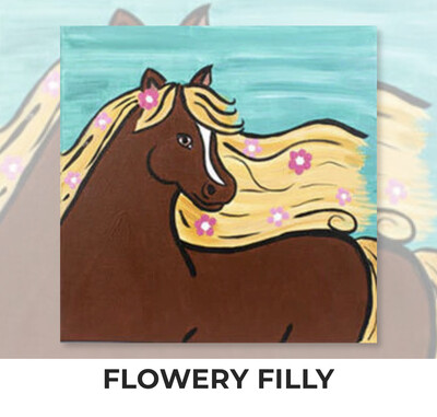 Flowery Filly - Horse KIDS Acrylic Paint On Canvas DIY Art Kit - 3 Week Special Order
