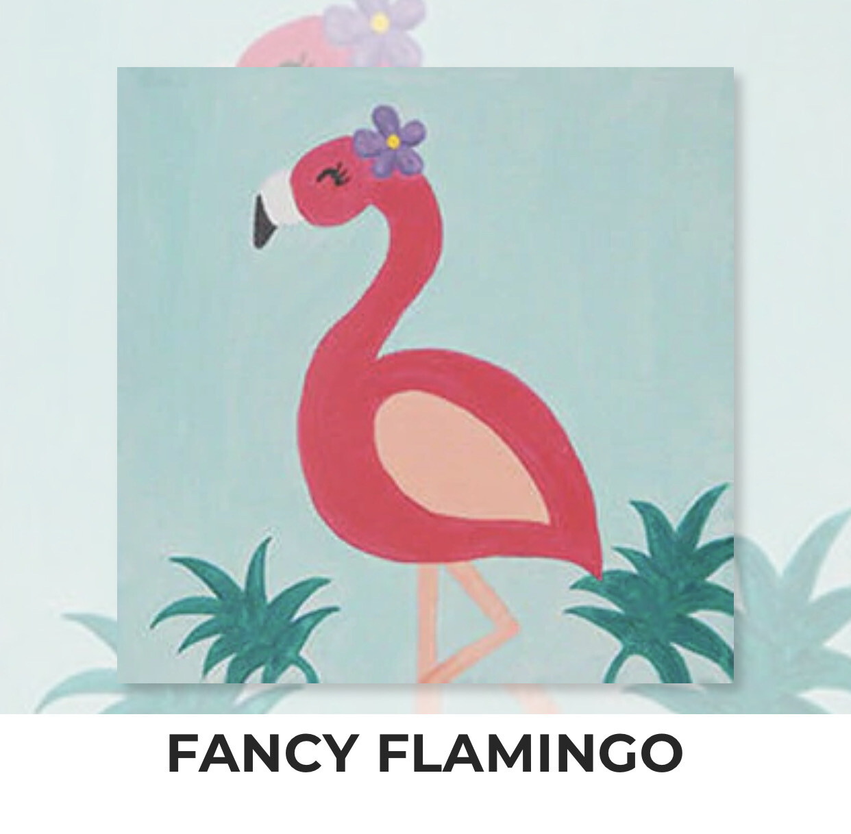 Fancy Flamingo KIDS Acrylic Paint On Canvas DIY Art Kit - 3 Week Special Order