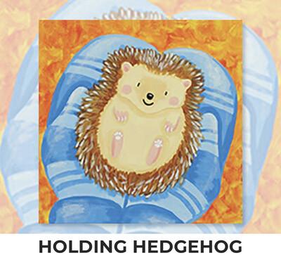 Holding Hedgehog KIDS Acrylic Paint On Canvas DIY Art Kit - 3 Week Special Order
