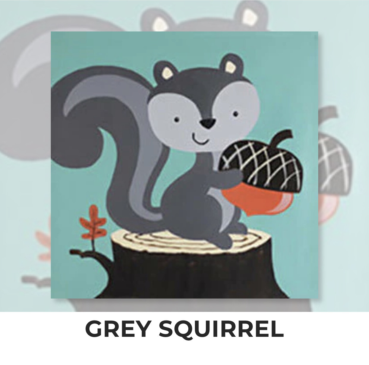 Grey Squirrel KIDS Acrylic Paint On Canvas DIY Art Kit - 3 Week Special Order