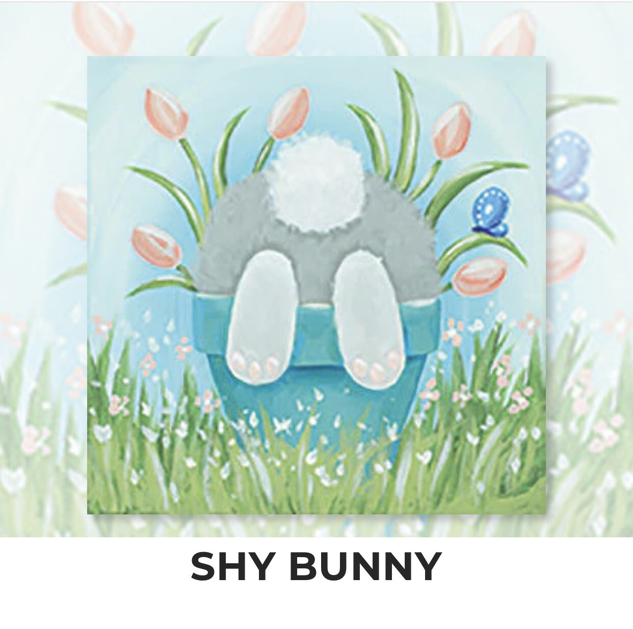 Shy Bunny KIDS Acrylic Paint On Canvas DIY Art Kit - 3 Week Special Order