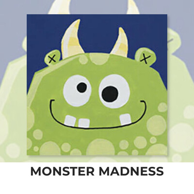 Monster Madness KIDS Acrylic Paint On Canvas DIY Art Kit - 3 Week Special Order