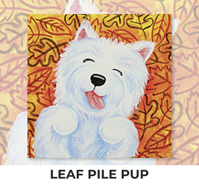 Leaf Pile Pup KIDS Acrylic Paint On Canvas DIY Art Kit - 3 Week Special Order