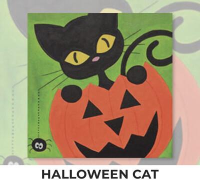 Halloween Cat KIDS Acrylic Paint On Canvas DIY Art Kit - 3 Week Special Order