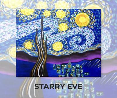 ADULT Acrylic Paint On Canvas DIY Art Kit - Starry Eve