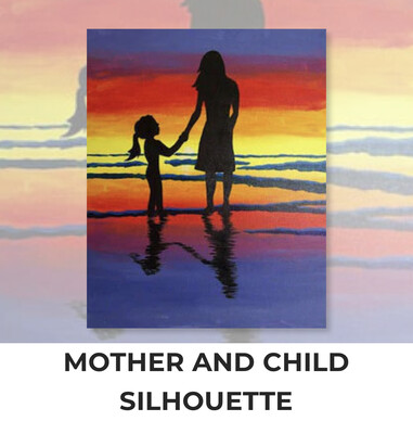 ADULT Acrylic Paint On Canvas DIY Art Kit - Mother and Child Silhouette