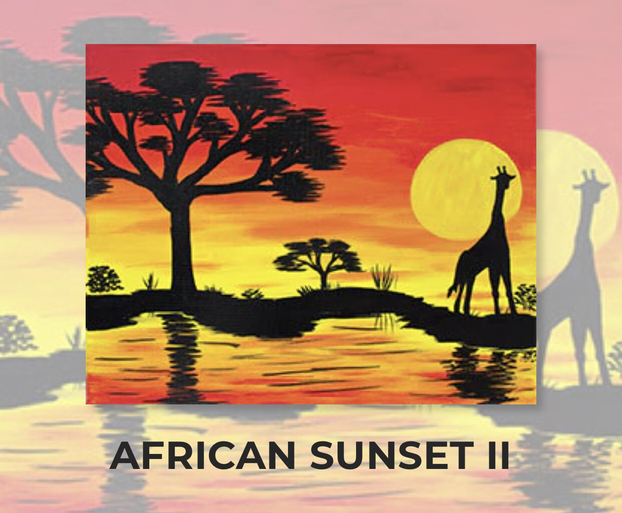 African Sunset II ADULT Acrylic Paint On Canvas DIY Art Kit