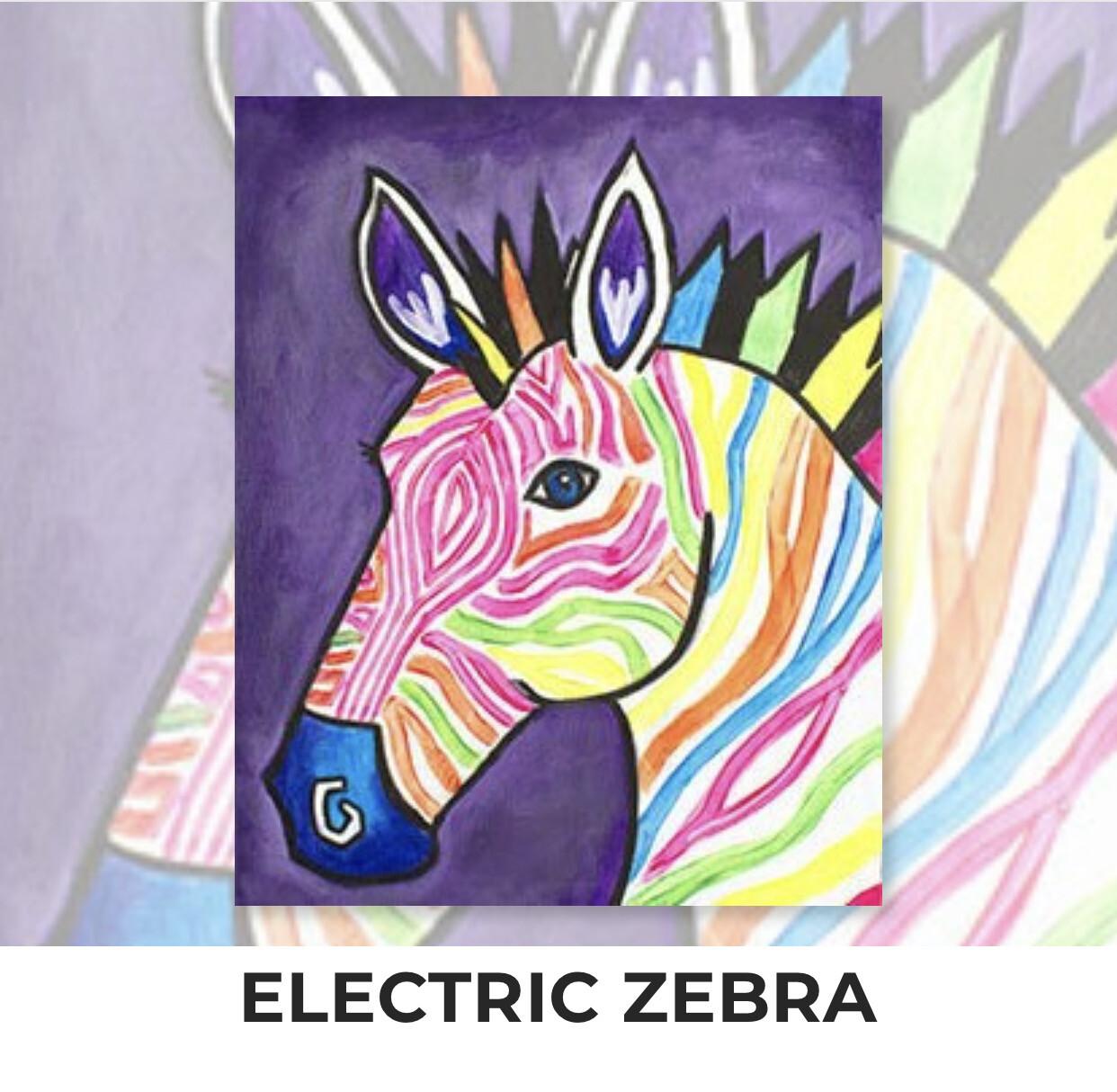 Electric Zebra ADULT Acrylic Paint On Canvas DIY Art Kit