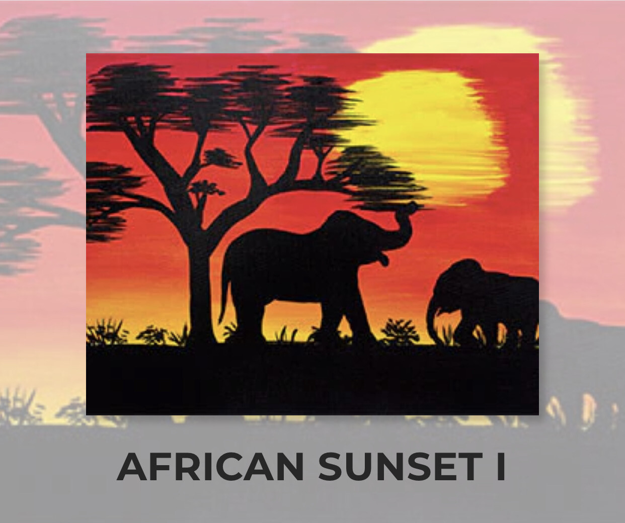 African Savannah Sunset I ADULT Acrylic Paint On Canvas DIY Art Kit