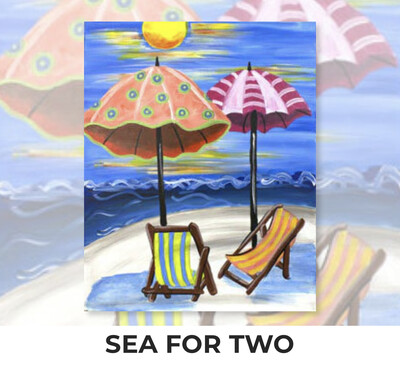 Sea For Two ADULT Acrylic Paint On Canvas DIY Art Kit  - 3 Week Special Order