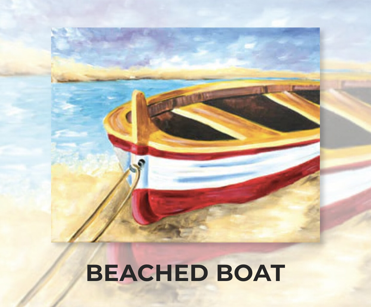 Beached Boat ADULT Acrylic Paint On Canvas DIY Art Kit