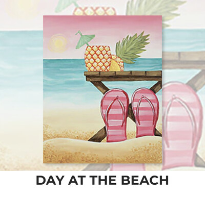 DAY AT THE BEACH - Zoom Paint and Sip Night - Sunday, August 15- 6-8pm - Order By July 31 - Reservation For One Adult