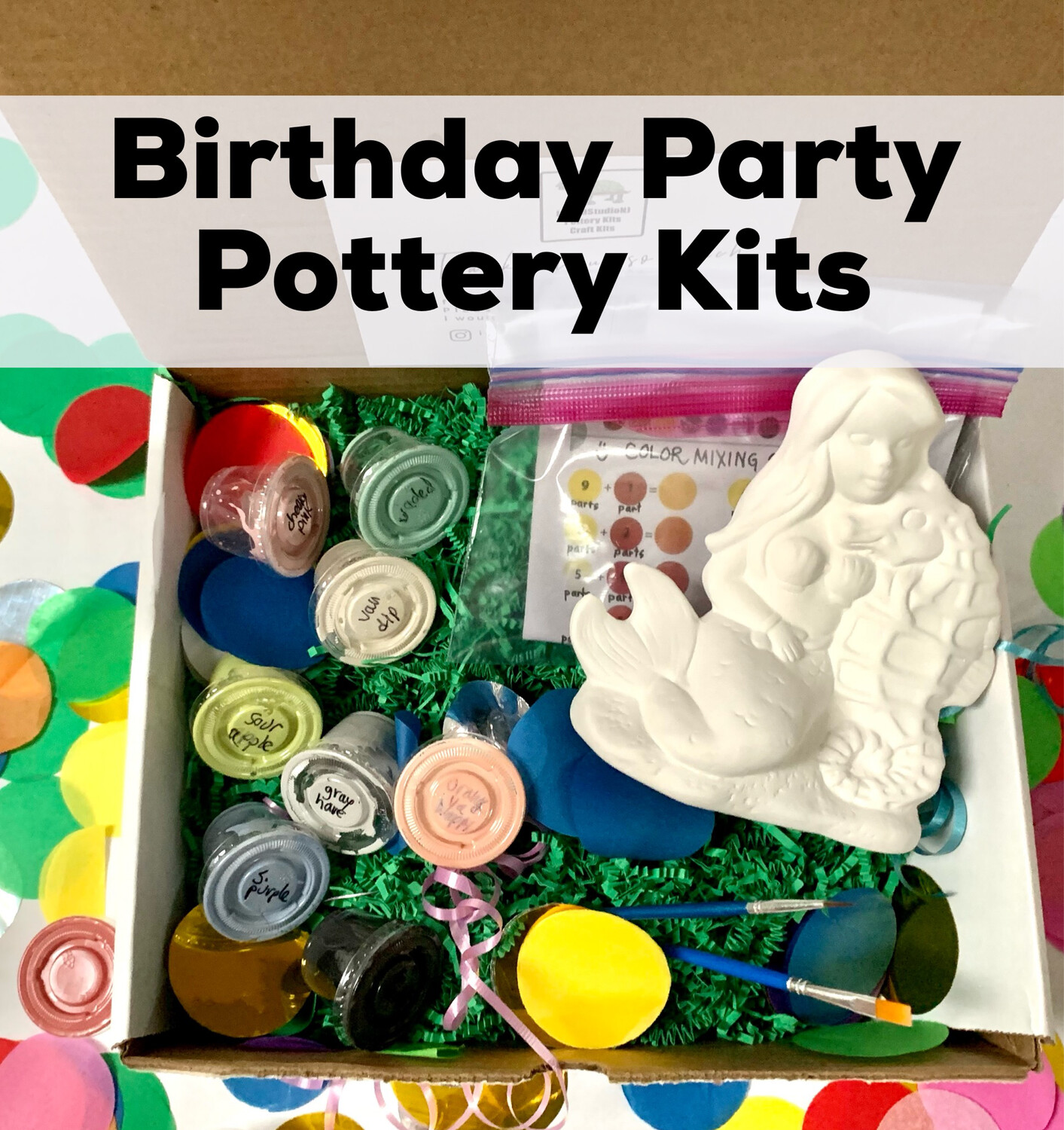 Discounted Birthday Party Kits - Paint Your Own Pottery - Minimum of 6 Guests