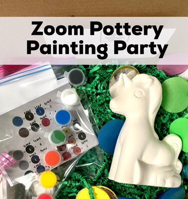 Zoom Pottery Painting Party July 6, 2021 from 3-4:30pm - Free With Pottery Purchase
