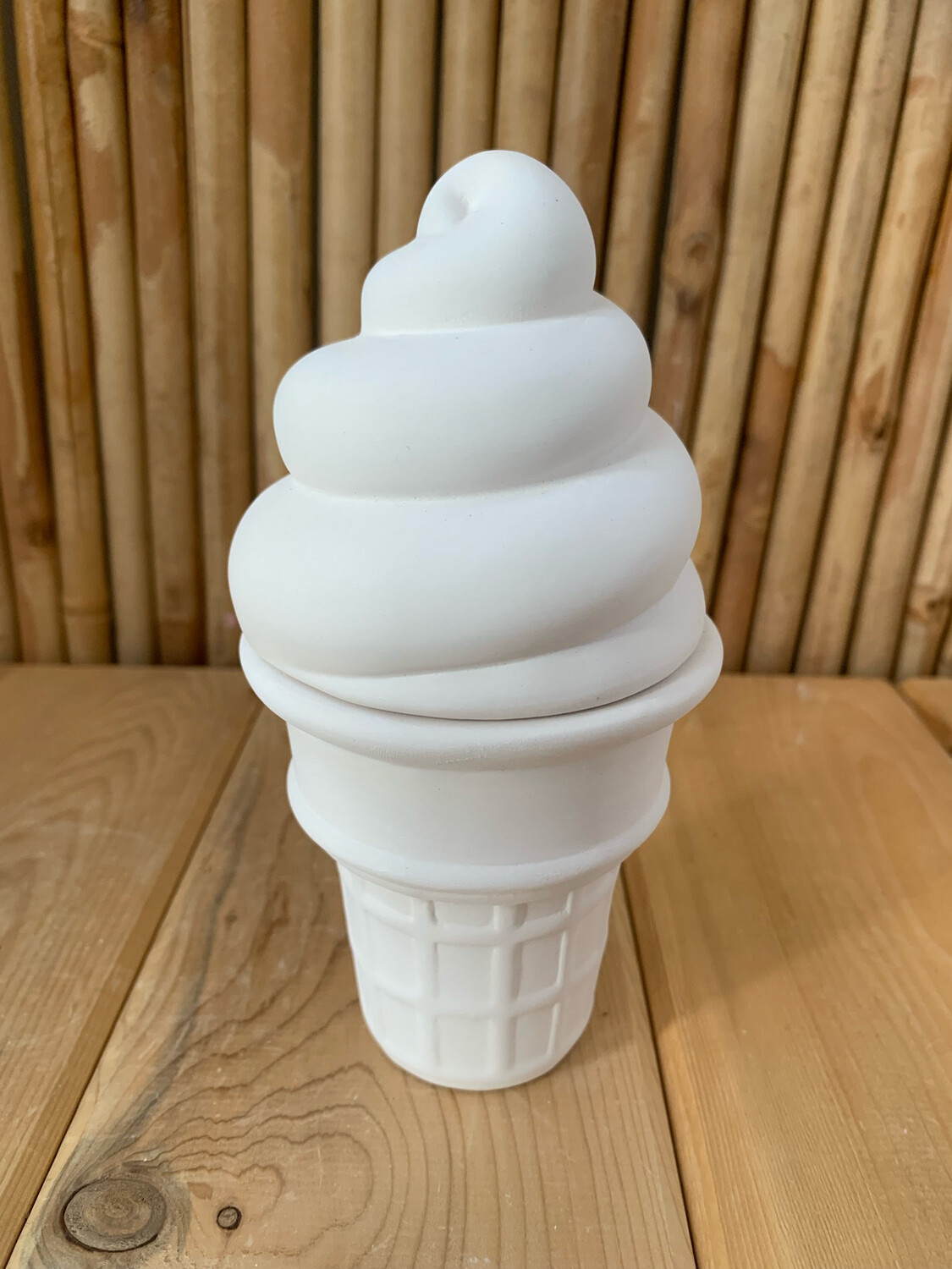 Paint Your Own Pottery - Ceramic   Soft Serve Ice Cream Cone Box Painting Kit