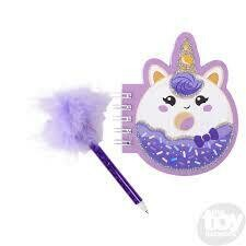 Unicorn donut notebook with feather pen