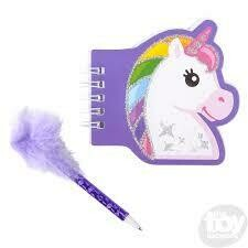 Unicorn notebook with feather pen