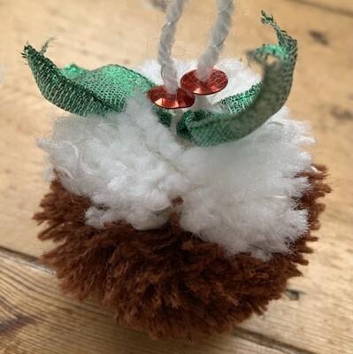 Christmas Pudding Pom Pom Decoration Kit