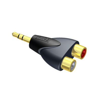Procab CLP211 - Adapter - 2 x RCA/Cinch vrouwelijk - 3.5 mm Jack mannelijk stereo