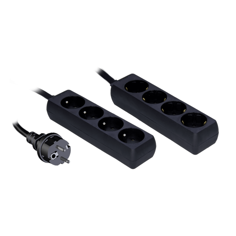 Procab PSC204/1.5-F - Powerbar met kinderveiligheid, 4-weg 4 franse stopcontacten 1,5m kabel
