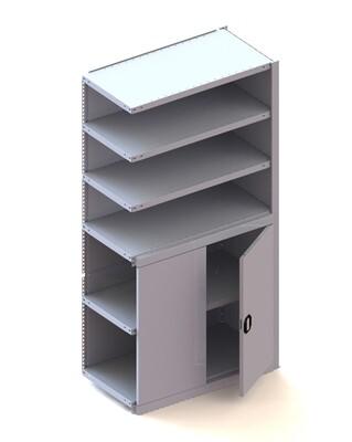 Kastmodule aanbouw halve deur, H2.000 x B1.000 mm, RAL 7035