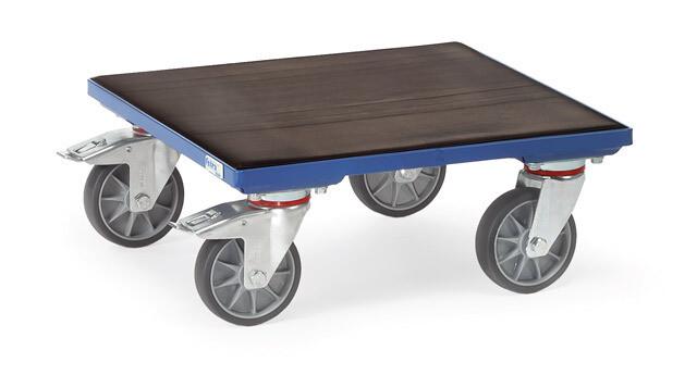Rolplateau, Houten laadvlak met rubber, 400 kg, RAL 5007