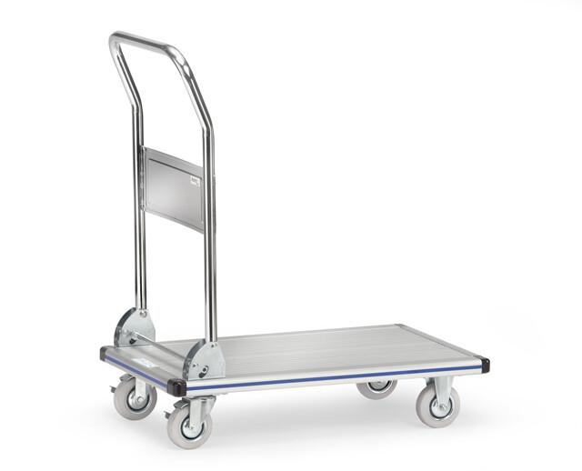 Platformwagen, Aluminium, Klapbare duwbeugel, 150 kg